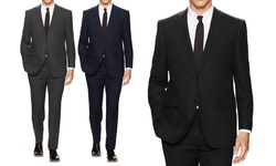Mens Classic Fit Solid Suit: Black - 38rx32w (2-piece)