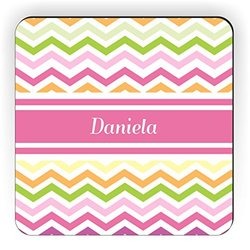 "Rikki Knight ""Daniela"" Pink Chevron Name Design Square Fridge Magnet"