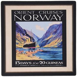Norway Vintage Travel Ship Poster Mouse Pad - 8 x 8""