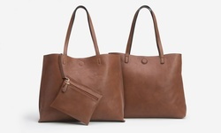 Sociology Reversible Tote with Matching Wristlet - Brown