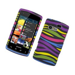 Eagle Cell Hard Snap-On Protective Case for Kyocera Rise - Rainbow Zebra
