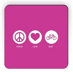 Rikki Knight Peace Love Bike Design Square Fridge Magnet - Rose Pink