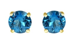 14K 1.65CTW Genuine London Blue Topaz Stud Earrings - Yellow Gold