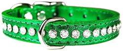 "OmniPet Signature Leather Crysta Dog Collar - Metallic Emerald Green - 10"""