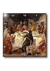 "15""x15"" Picture of El Grecos Oil Painting of The Last Supper Wall Clock"