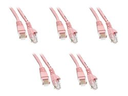 C&E 10 Foot Cat5e Snagless/Molded Boot Pink Ethernet Patch Cable, 5-Pack (CNE52134)