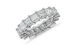 Golden Moon 5CT Women's Princess Cut CZ Ring - 18K White Gold - Size: 8