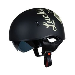 Torc T55 Spec-Op Half Helmet W/Lucky 13 Cracked Piston -Flat Black - Sz:XL