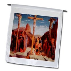 3dRose fl_100418_1 Photo of Painting by Degas The Crucifixion Garden Flag, 12 by 18-Inch