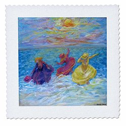 """3dRose 10""""x10"""" Quilt Square - Girls Play in The Surf"""