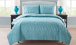Shore 3 Pc Quilt Set with Matching Shams - Blue - Size: Q