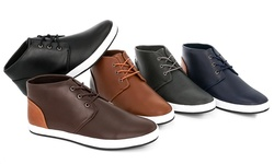 Mens Dress Lace Up Hi Top Sneakers Edward-2    Blk/blk    10.0