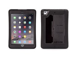 Griffin Slim Protective iPad mini 1/2/3 Case with stand, Survivor Slim, [Black] [Built-in Stand] [Built-in Screen Shield] [Rugged] [Dual layer] [Sealed Ports]