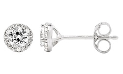 Women's 10K White Gold 1/2 CTTW Diamond Halo Round Stud Earrings - Silver
