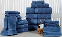 Elegance Spa 18-pc Luxurious Fine Cotton Towel Set - Blue Stone