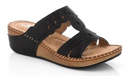 Lady Godiva 2402-41 Comfort Wedge Sandal - Black - Size: 10