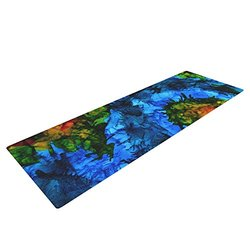 Kess InHouse Claire Day Flow Yoga Exercise Mat - Blue/Green - 72 x 24-Inch