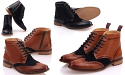 Mens Fraser Leather Laced-up Boots: GS5405/Brown-Black/Size 8