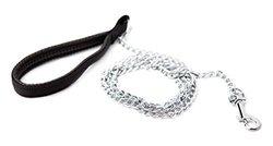 Oliver & Iris Dog Chain Leash, Padded Handle, Black, Medium Chainlinks, 4ft Length