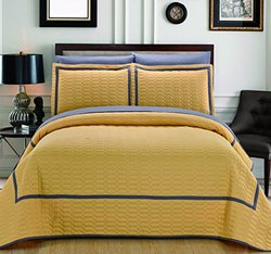 Chic Home 3 Piece Birmingham Hotel Collection 2 Tone Banded Quilted Geometrical Embroidered, Quilt Set , Queen, Yellow