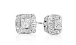 1/10 CTTW Diamond Studs in Rhodium Plated Sterling Silver - Square