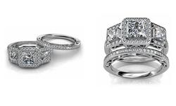 Women's 4.00 CTTW 18K White Gold Plating Princess Crystal Ring Set - Sz: 6