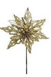 "Renaissance 2000 Glitz Cut and Wire Poinsettia Stem - Gold - Size: 18.5"""