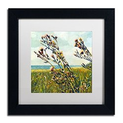 Trademark Fine Art Thistles on The Beach White Matte Archival Paper Artwork by Michelle Calkins, 11 by 11-Inch, Black Frame