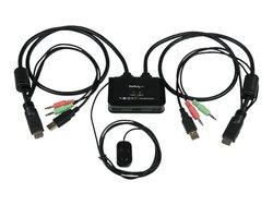 StarTech 2 Port USB VGA Cable KVM Switch - Black - VGA