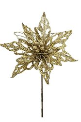 "Renaissance 2000 Glitz Cut and Wire Poinsettia Stem - 18.5"" - Gold"