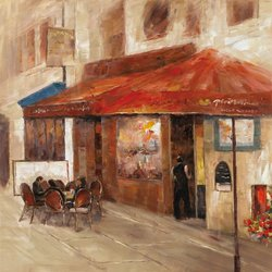 "32 in. x 32 in. ""Outdoor Dining I"" Hand Painted Contemporary Artwork"
