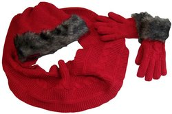 N'Ice Caps Girls Fur Trimmed Cable Knit Hat/Circle Scarf/Glove Set - Red