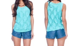 Women's Crochet Tank Top with Cami Inside - Mint - Size: Small