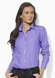 Ralph Lauren Women's Striped Dress Shirt - Lavander/White - Size: Small