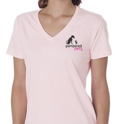 Pampered Pets Short-Sleeve V-Neck Tee - Pink - Size: Small