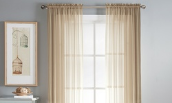 "Wexley Home 56"" x 84"" Sheer Voile Rod Pocket Window Panel Pair - Taupe"