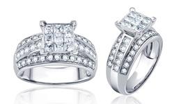 Brilliant Diamond 1.5Cttw Round & Princess Diamond Ring - W Gold - Size: 6