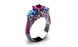 18K 4 CTTW Ruby & Sapphire Cubic Zirconia Ring - White Gold - Size: 9