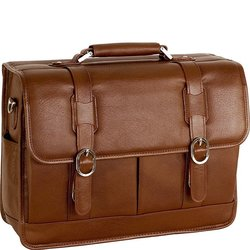 McKlein Beverly Leather Flapover Briefcase - Brown