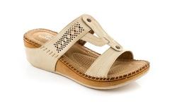 Lady Godiva Women's Comfort Wedge Sandal - Beige - Size: 7.5