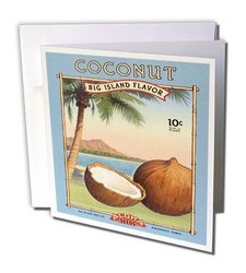 3dRose Hawaiian Vintage Ad with Fresh Coconut Greeting Cards Set of 12