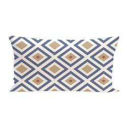 E By Design Diamond Mayhem Geometric Print Outdoor Seat Cushion - Cadet