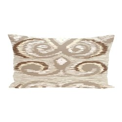 E By Design Ikat's Meow Geometric Print Outdoor Seat Cushion - Flax