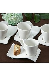 """Artisano Designs """"Swish"""" Cup and Biscotti Plates - Set of 4"""