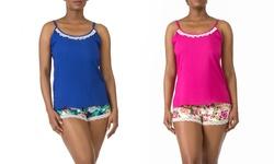 Rayon Cami And Short Sleep Set - Hot Pink - Size: Medium