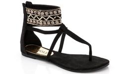 Rasolli Women's Gladiator Sandal - Black - Size: 11