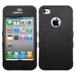Apple iPhone 4S/4 Hard Black/Black TUFF Hybrid Phone Case Cover