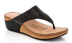 Lady Godiva Comfort Wedge Sandal - Black Size: 8