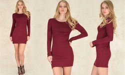Lyss Loo Comeback Baby Long Sleeve Bodycon Dress - Burgundy - Size: Small