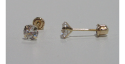 Sterling Silver 14K Gold Swarovski Crystal Reversible Ball Stud Earrings